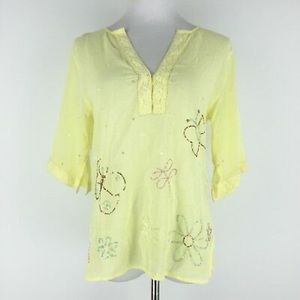 Anthropologie Fei yellow butterfly top